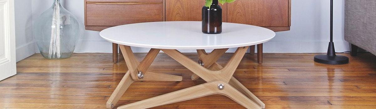 table basse plateau relevable scandinave